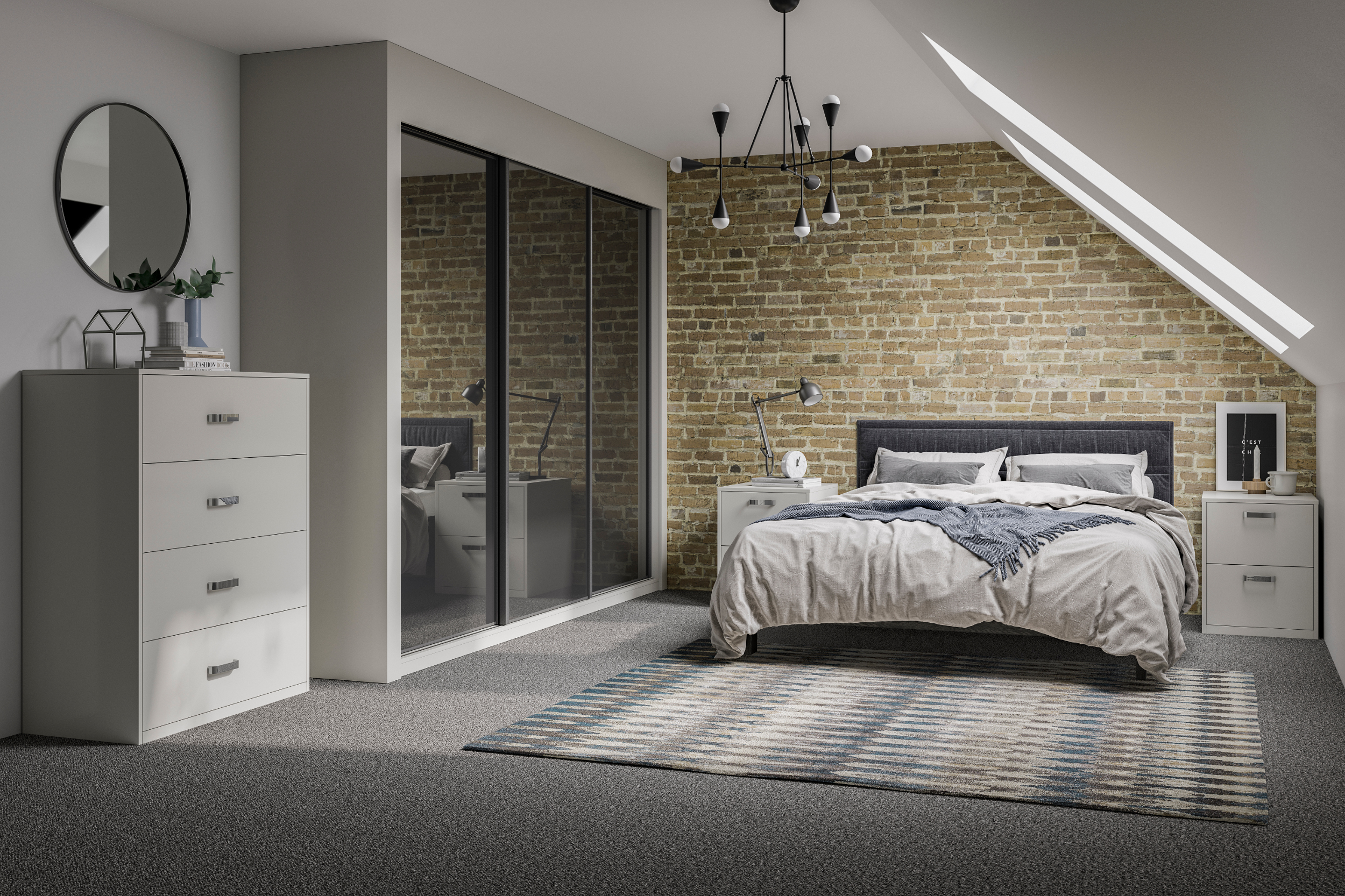 Glide wardrobes in the smoked mirror black option, shown with a bed and a chest of drawers in a bedroom setting
