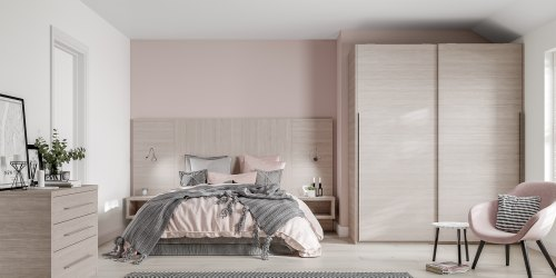 Sliding robes offer a modern bedroom design