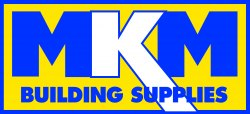 Blue, yellow and white logo in a rectangle reading 'MKM Building Supplies'