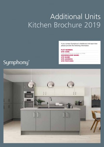 """Blue block with grey kitchen image, text reads """"Additional Units Kitchen Brochure 2019"""" and has a place to fill in house details"""