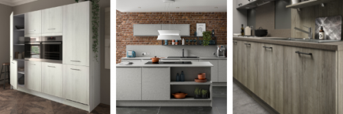 three images showing Symphony's Sustainability kitchen collection, one showing a tall unit run in a light wood effect, one in a concrete effect with an island and one in a darker wood effect