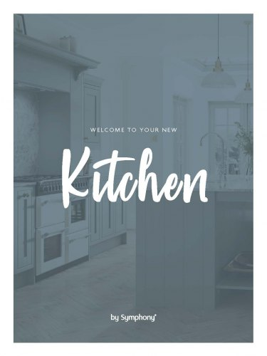 Blue background with a kitchen in faded view and text that reads 'welcome to your new kitchen by Symphony'