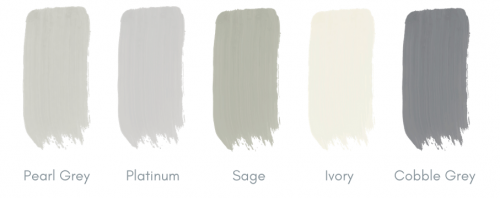 a selection of colours for a timeless kitchen design in grey and pale green tones