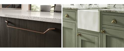 Dark wood kitchen with copper handles and green kitchen with brass handles
