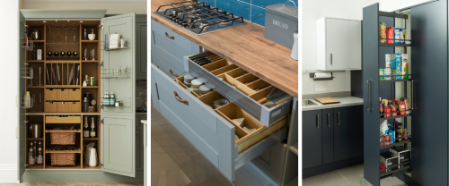 a selection of cabinet internals and drawers for an organised timeless kitchen design