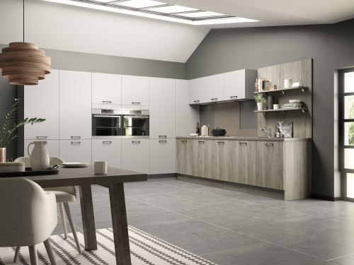hacienda Kitchen shown in mid brown woodgrain and white tall units, with matt black handles and grey floor