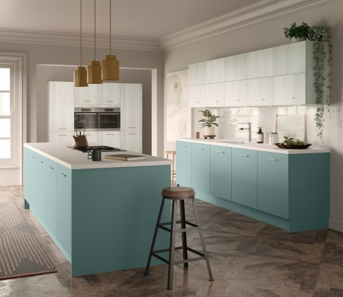 Light blue kitchen with base units and island , and light grey woodgrain on wall units. wooden floor