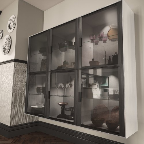 Six Black glazed frontal wall units with crockery and glassware inside with black kitchen accessories inside the cabinets