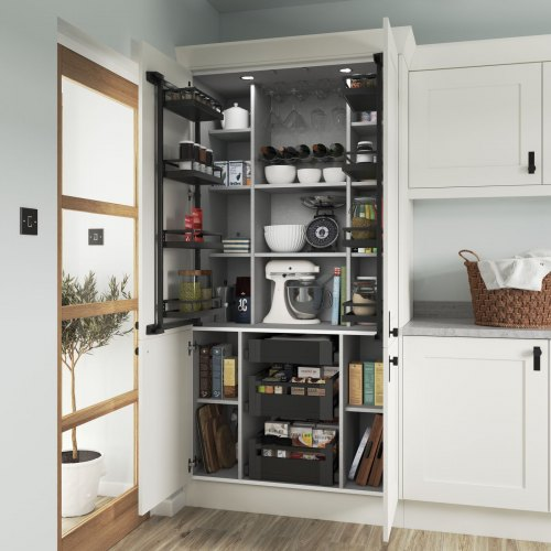 a white princeton kitchen with a kitchen pantry. Shown with anthracite internals and proped with various kitchenware items