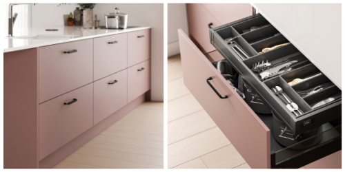 Pink kitchens with black handle. Two images shown one of a bank of drawers the other is an open drawer with cutlery, dividers are shown and the inside of the drawer is a dark matt anthracite colour