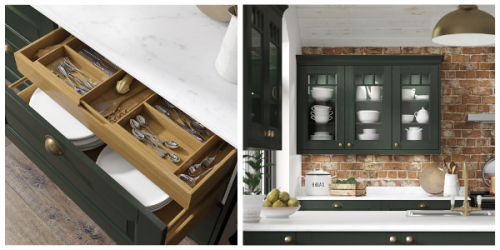 Two green kitchens shown. First is an open drawer with an internal drawer in oak effect finish filled with cutlery and plates the other is a cabinet with a glass front. Crockery can be seen through the glass. White worktops can be seen along side accessories like bread bins and fruit