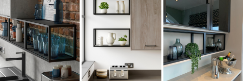 Three images in a row showing matt black open shelving on the wall with a selection of decorations placed on them