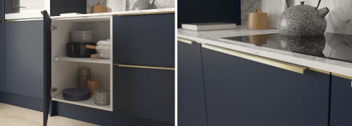 Indigo kitchen detail shots showing a cabinet open and closed with a brushed brass inline handle and marble effects worktops