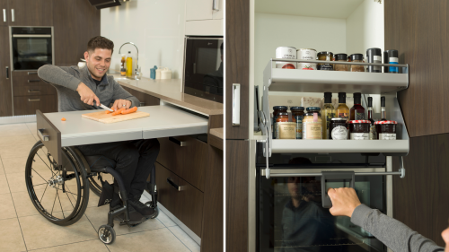 two images are shown. The first is a wheelchair user using a pull out table and chopping carrots on it whilst the other is the user using a pull down basked filled with food, tins and condiments