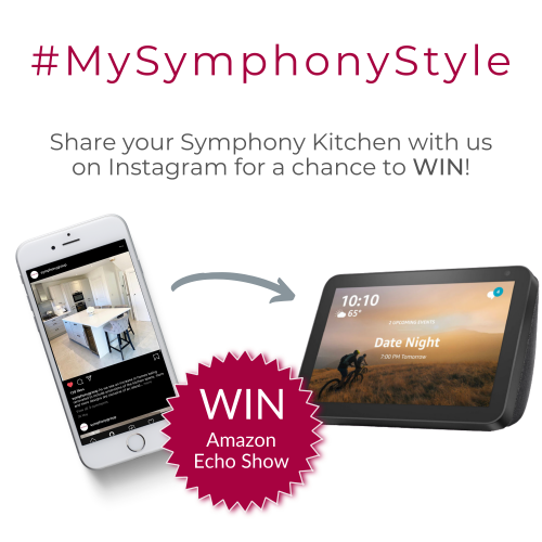 MySymphonyStyle text with Iphone and Echo Show Device with Text Reading -Share your Symphony Kitchen with us on Instagram for a chance to WIN!