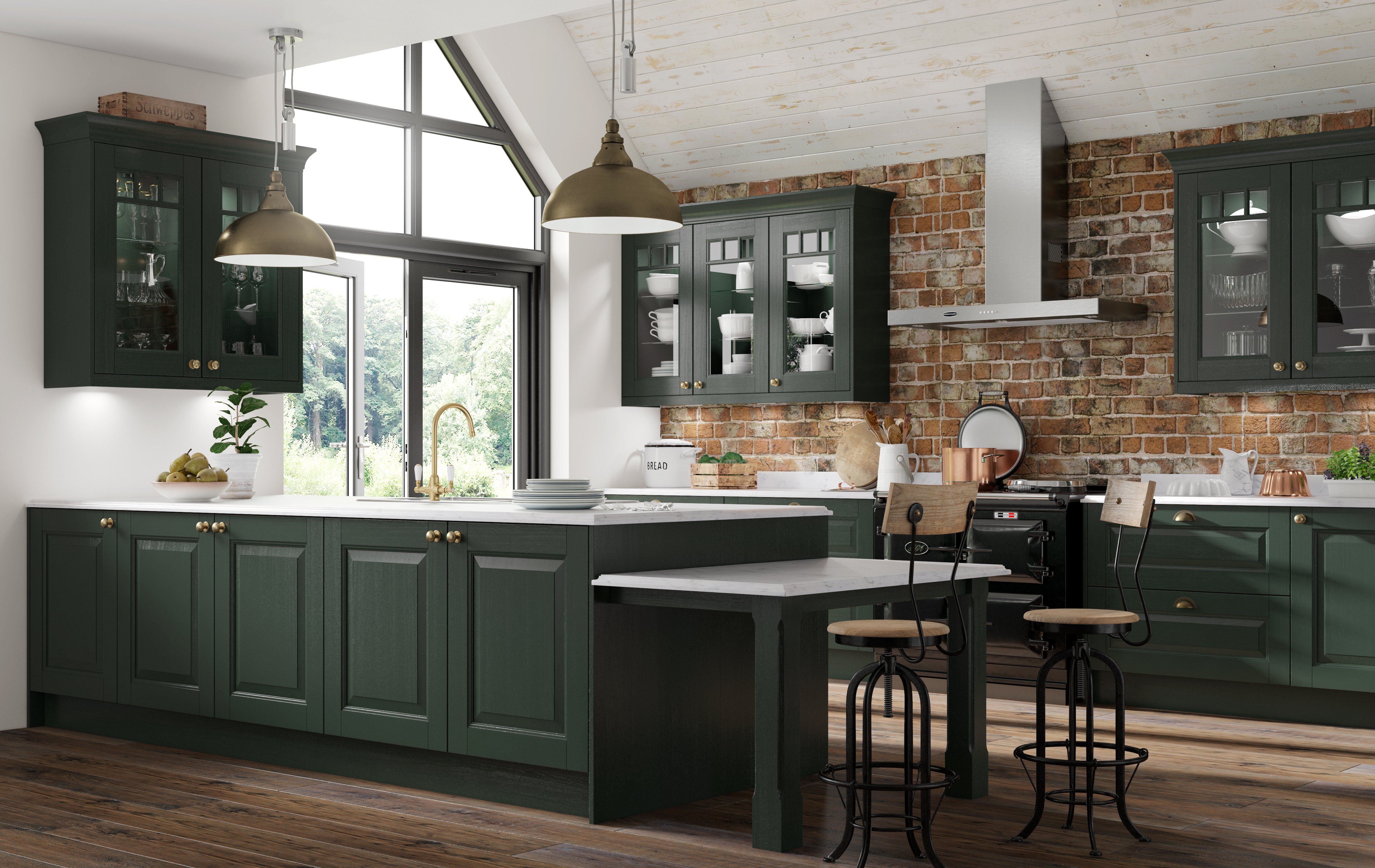 Dark green kitchen with white worktops, showing an island and breakfast bar with units along the wall