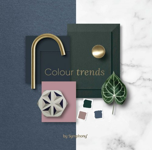 Cover of the Symphony 2021 Kitchen Trends Flyer showing green blue and pink door shots with colour swatches and a brass tap and handle